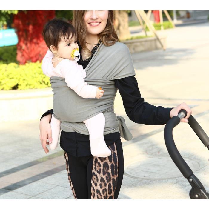 1b10b834a58 Écharpe de portage pour porter bébé porte kangourou baby carrier Sac à dos  Porte Bébé en coton+lycra élastique tabouret bébé-Gris