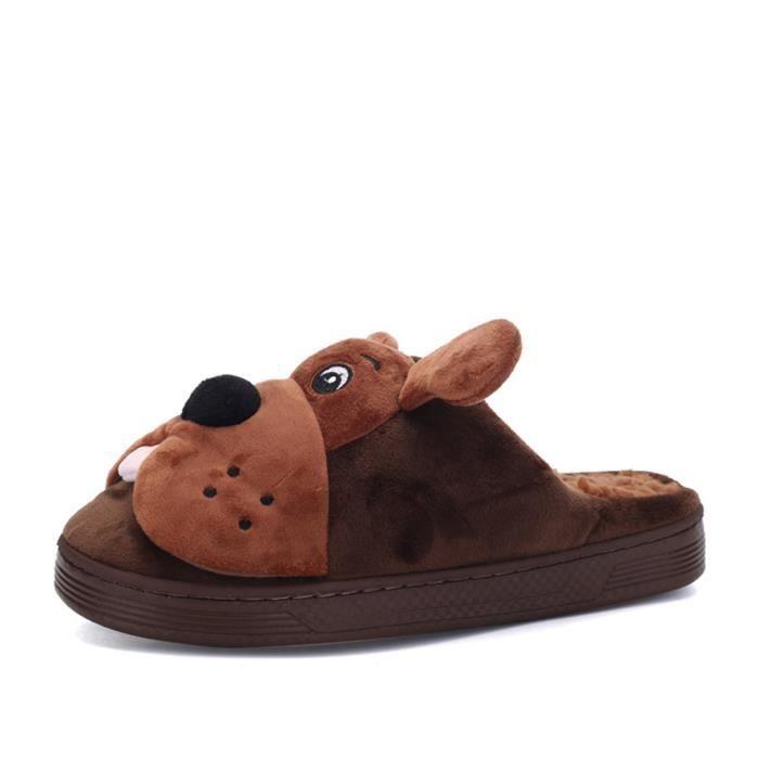 Chaussons hommes mignonne chien pantoufle homme chaud hiver peluche dessin animé Cosplay Confortable chaussure dssx334marron45 JaMvsU