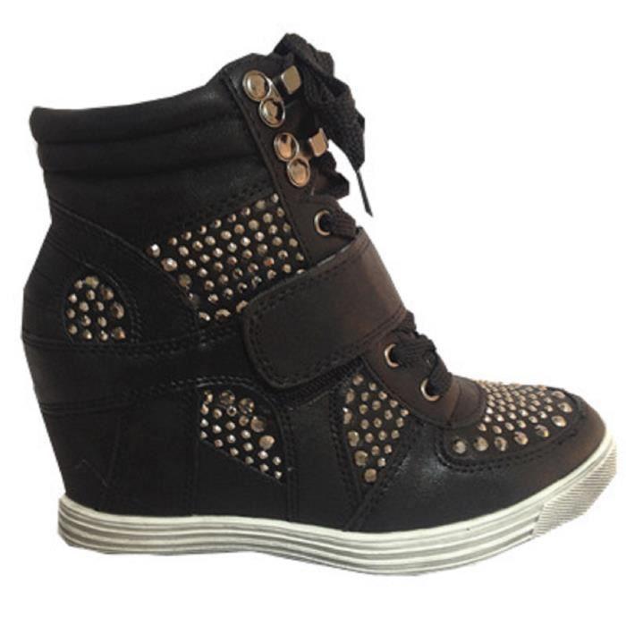 Fashionfolie888 - Femme Baskets compensées montante talon chaussures fille  lacet mode NOIR 12 bf940abb1767