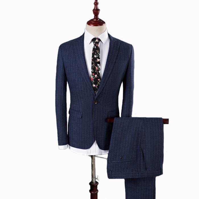 Costume Affaires Homme pantalon Veste Pièces 2 De Bleu Marine Gris UURnZrvq