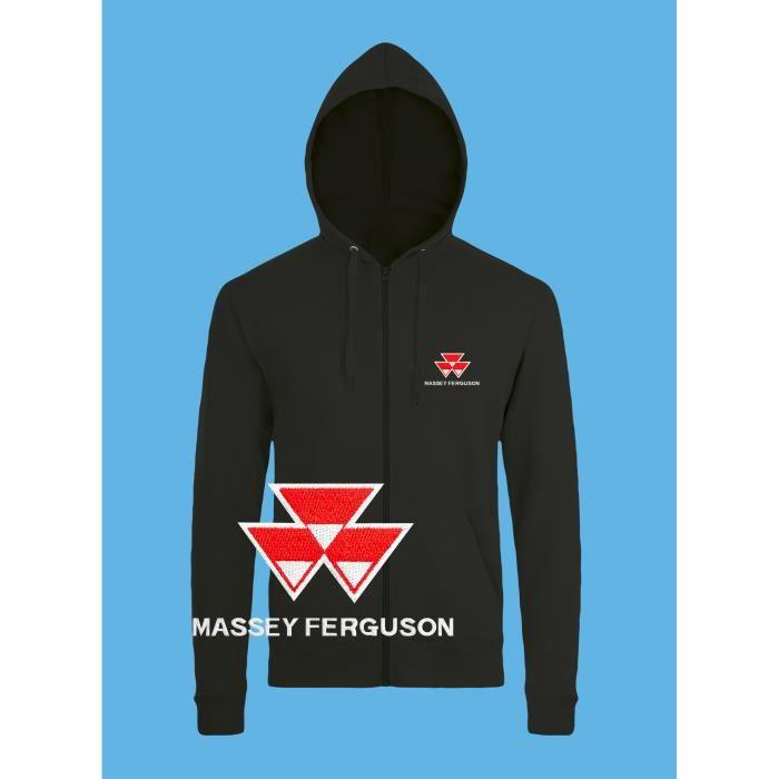 b6c34ec358d Massey Ferguson Sweat à Capuche Pull Zippé Logo Brodé Noir Manches ...