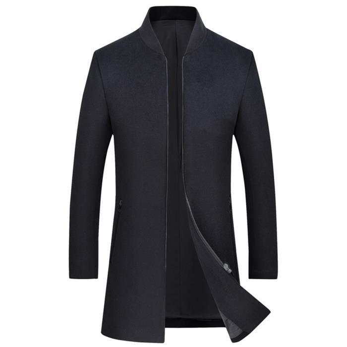Hommes En Couleur Montant Duffle Laine Pour Slim Noir Manteau Col À Unie Glissière Coat Pardessus EEqgBwZ8