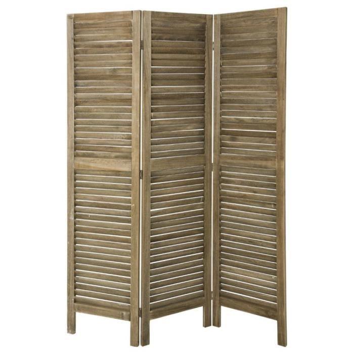paravent persienne 3 volets en bois naturel gris 120x170cm achat vente paravent soldes. Black Bedroom Furniture Sets. Home Design Ideas