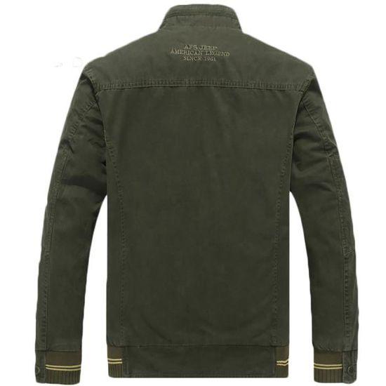Mode Réversible Blouson Coton Homme Col up Longues 100 En Stand Manches Veste Casual xpqzwO