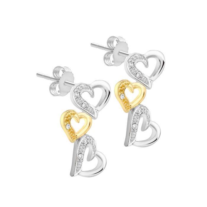 Boucles Doreille - Femme - Coeur - Or (9 Cts) De Bicolore - Diamant LX3DJ