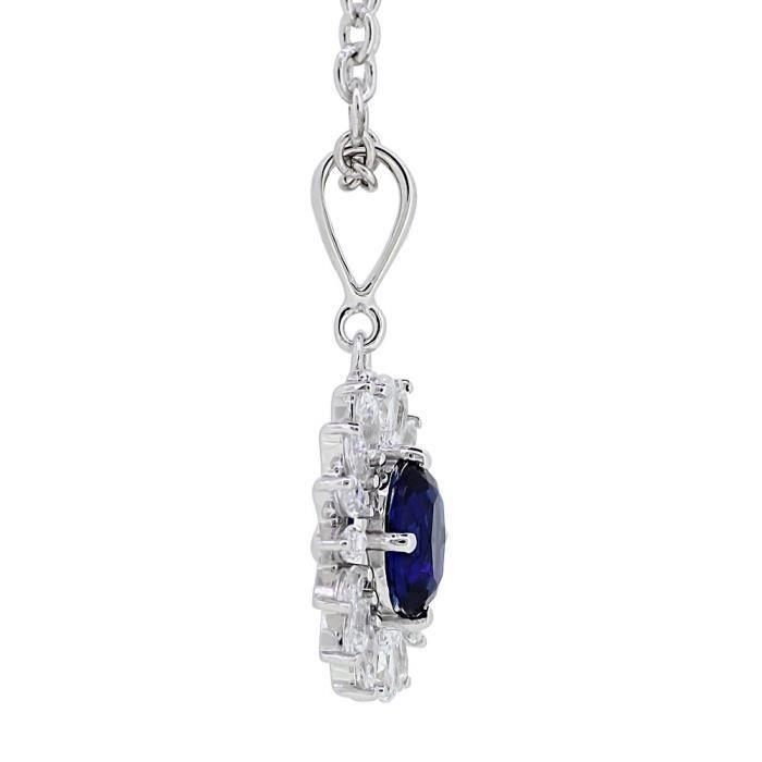 Femmes Solitaire Collection Bleu 925 en argent sterling zircon pendentifsDB68V