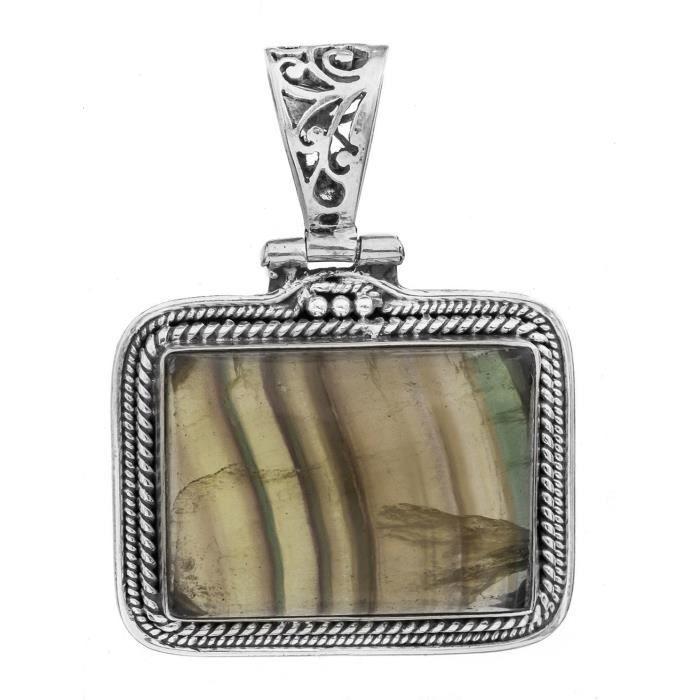 Femmes pierres précieuses Pendentif Rectangle - Argent - Couleur fluorite F9ZBL