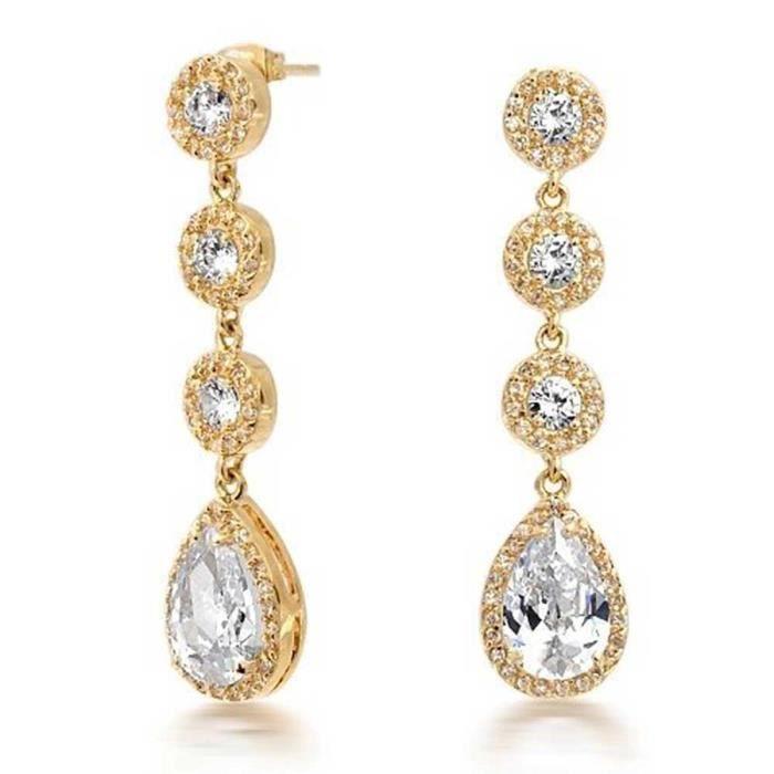Bling Jewelry Couronne sertie plaqué or CZ Ouvrir Teardrop Boucles dLustre