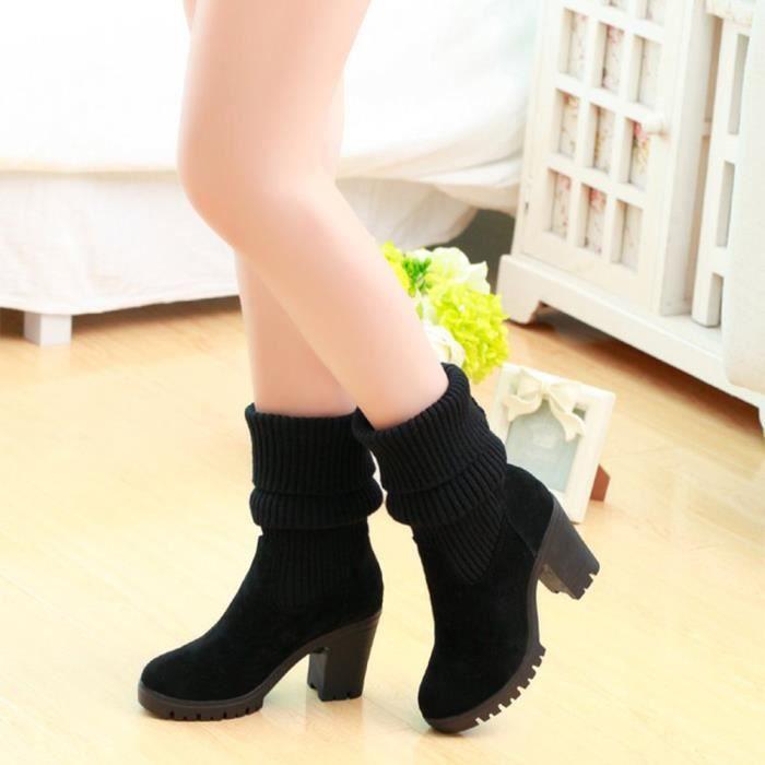 Sidneyki®Bottes de combat à tricoter d'hiver pour femmes Bottes décontractées à talons carrésNoir ASD241 R8b5WIb
