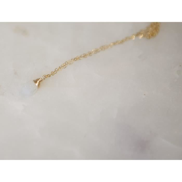 Womens White Druzy Wire Wrapped Gold Filled Necklace - 18 Length W2IS0