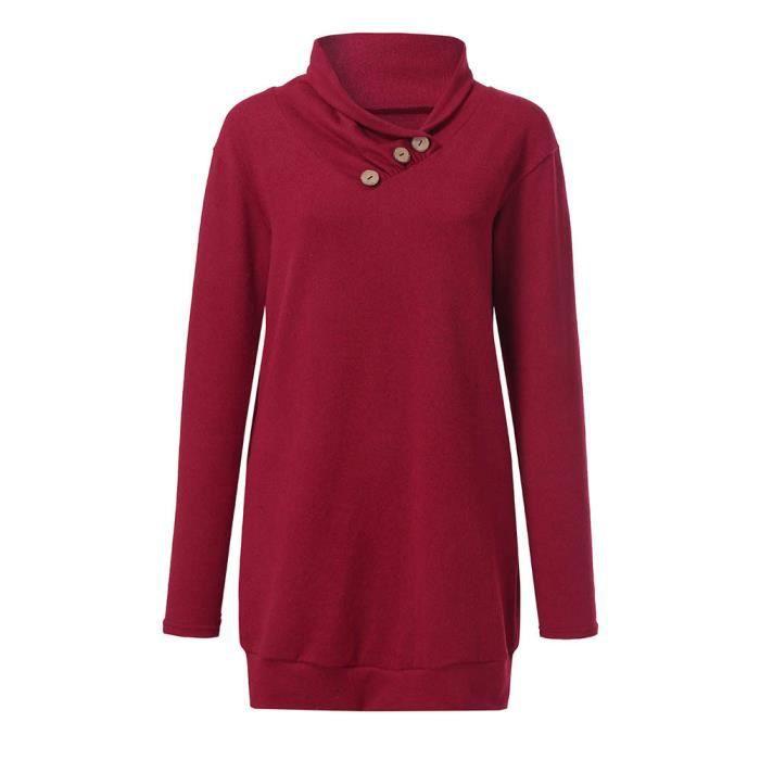 Sweat Femmes Tunique Longues Rouge Bouton shirt À Col Pull Hauts Casual Manches Bénitier xqtwvxI