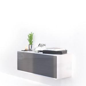 COMMODE DE CHAMBRE Meuble à chaussures suspendu blanc mat et gris laq