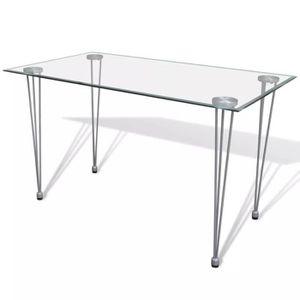 753d8d10265ff7 TABLE À MANGER SEULE Table de salle à manger et dessus de table en verr
