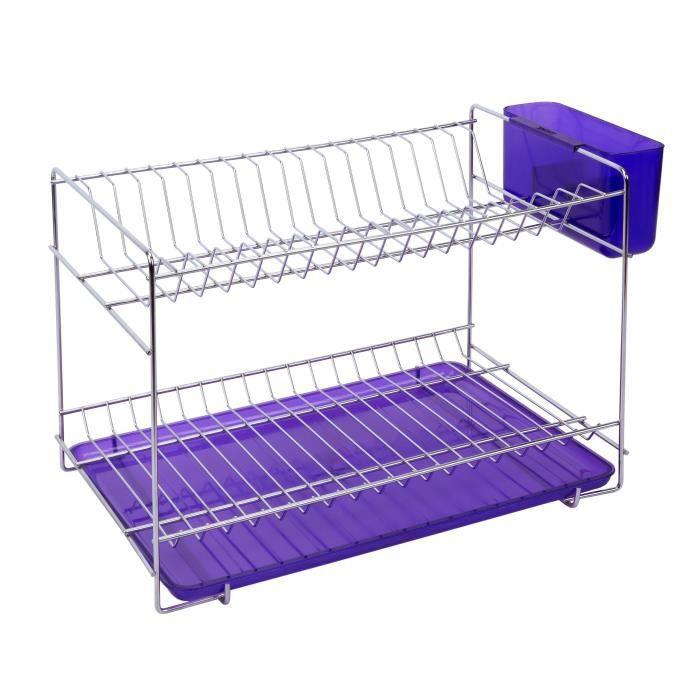 SAUVIC Égouttoir à vaisselle inoxydable avec plateau - Petit modèle - Lilas