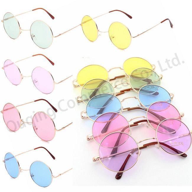Mode unisexe Lunettes de soleil F rose roseemmes Miroir Vintage Homme Ronde Cercle Couleur des verres Lunettes