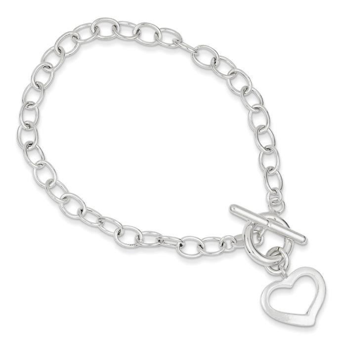 Ouverture en forme de cœur en argent Sterling, Bracelet lien - 19 cm