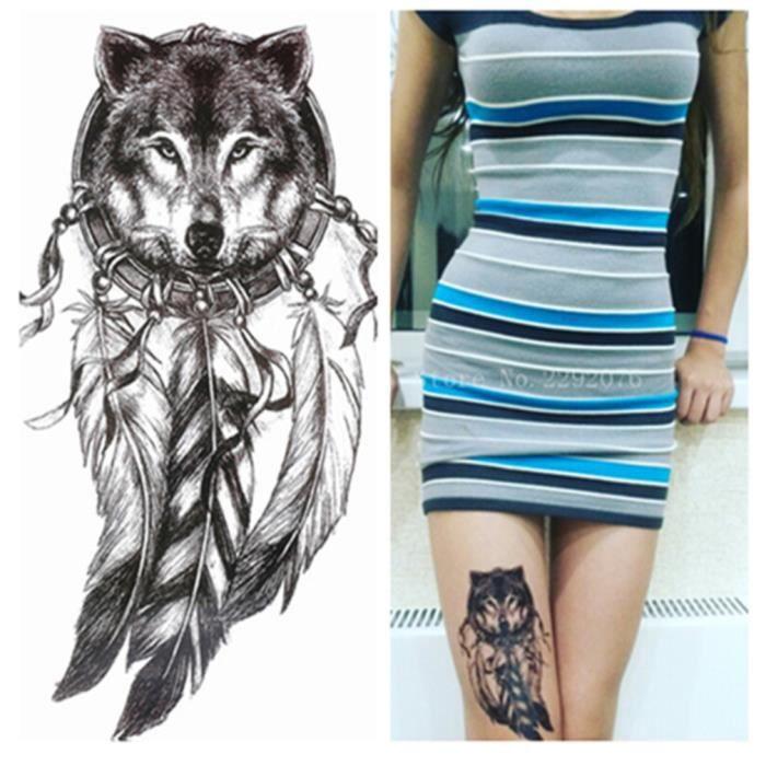 Tatouage Temporaire Ephemere Realiste Motif Loup Attrape Reve