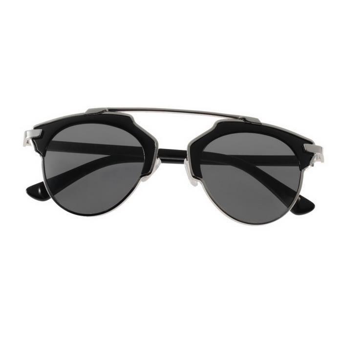 Lunettes de Soleil Retro Cat's Eye , Sable Noir Feuille Grise