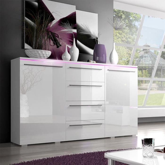 32ad46c79d3676 Buffet-bahut blanc laqué brillant design CANON Avec éclairage ...
