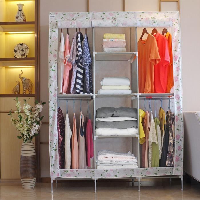 garde robe armoire en tissu achat vente pas cher. Black Bedroom Furniture Sets. Home Design Ideas