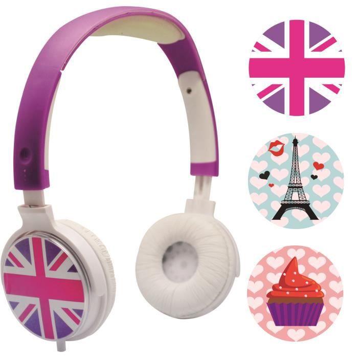 CASQUE AUDIO ENFANT TEKNOFUN Casque Audio Personnalisable faces interc