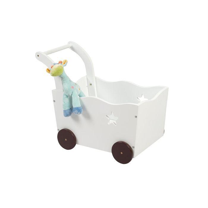 coffre de rangement chariot enfant blanc etoile blanc. Black Bedroom Furniture Sets. Home Design Ideas