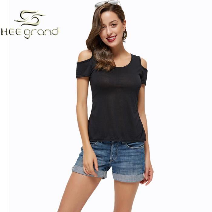 f712c91dd4e Femme Fille T-Shirt Noir Sexy A Bretelle de Dos Nu Dentelle Floral HEE GRAND