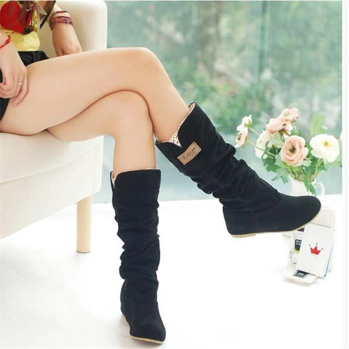 Femme Botte De Marque De Luxe Haut qualité Bottes Durable Nouvelle arrivee Plus De Couleur noir Talons hauts Grande Plus Taille 43 16Ip3