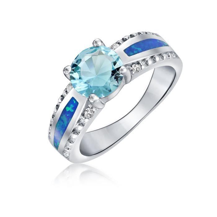 Bling Bijoux de Birthstone aigue-marine bleu rond CZ Bague Argent 925 encastré Opale