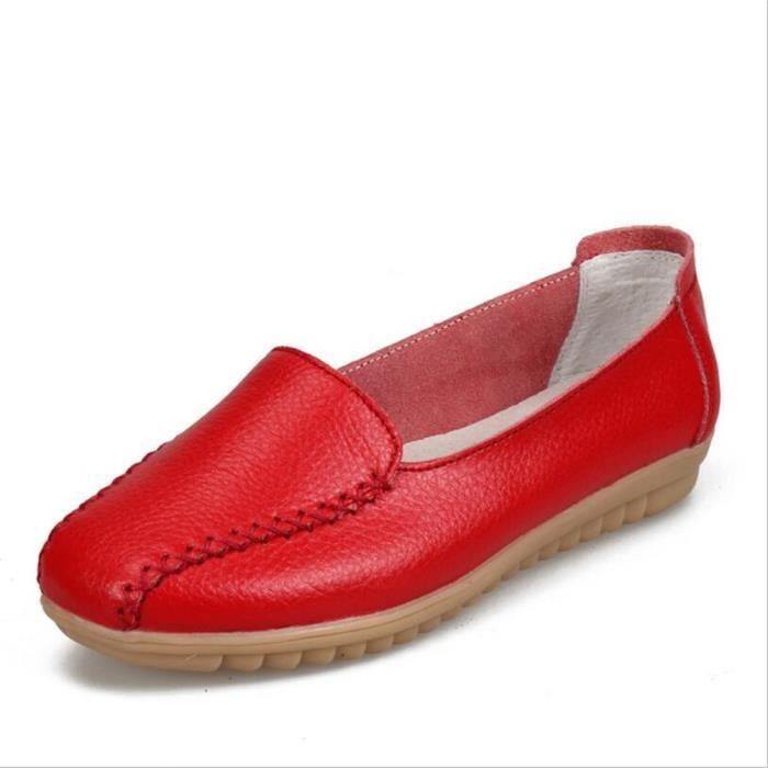 Mocassin Femmes Talon plat Leger Chaussure BJ-XZ049Rouge38