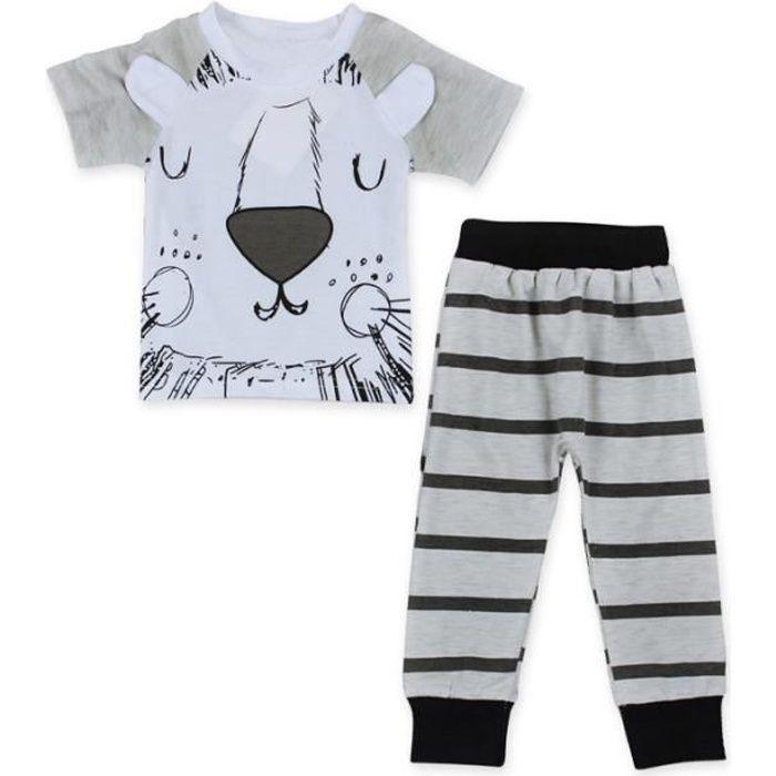 074cf02909cc 0-24 Mois Pyjamas Fille Garçon Tenue Bébé Lion Imprimé 2PCS Ensemble de  Vêtement   T-shirt + Pantalon à Raies