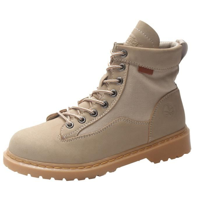Cuir Martin Bout Non En Femmes Moyen Bottes Plate slip Lacets forme Boot Chaussures 6137 Rond 7naaAvdqX