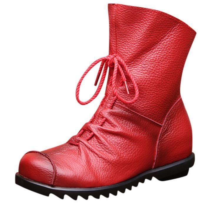 be46565aba25e Bottines femme cuir rouge - Achat   Vente pas cher