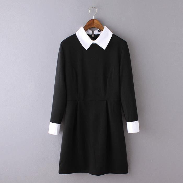 282855706e Office Femme Robe droite à col en v Automne Mode classique Manches longues  à pleine taille