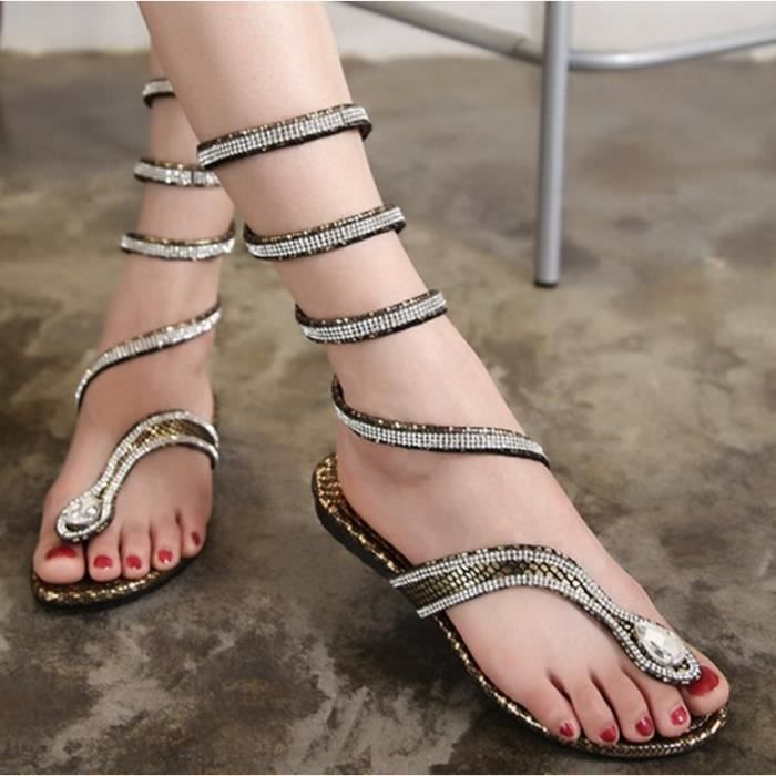 Sandales femmes plat Strappy romaine Strass Forme serpent