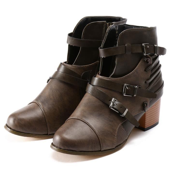 Bottes Strap Rond Bout Talon Martin Carr Noir Boucle Cuir En Femmes Chaussures wBTfpn
