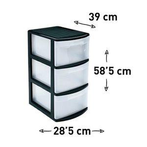 TOUR DE RANGEMENT Boîte de Stockage 3 Tiroirs Transparent en Plastiq