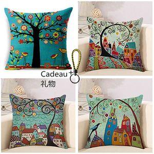 HOUSSE DE COUSSIN 4 Pcs Auto Housses de Coussin Multicolores Coton e