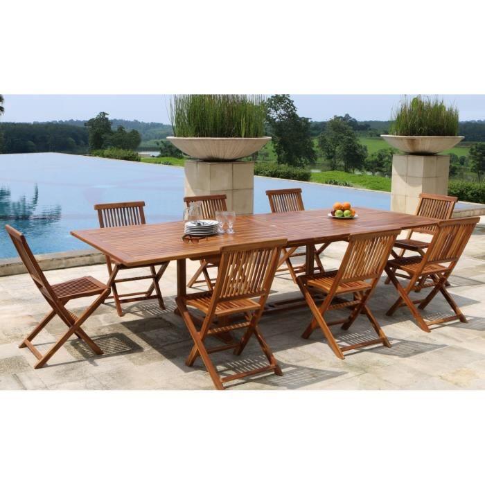 Table et chaises en teck de jardin 12 a 14 personnes - Achat ...
