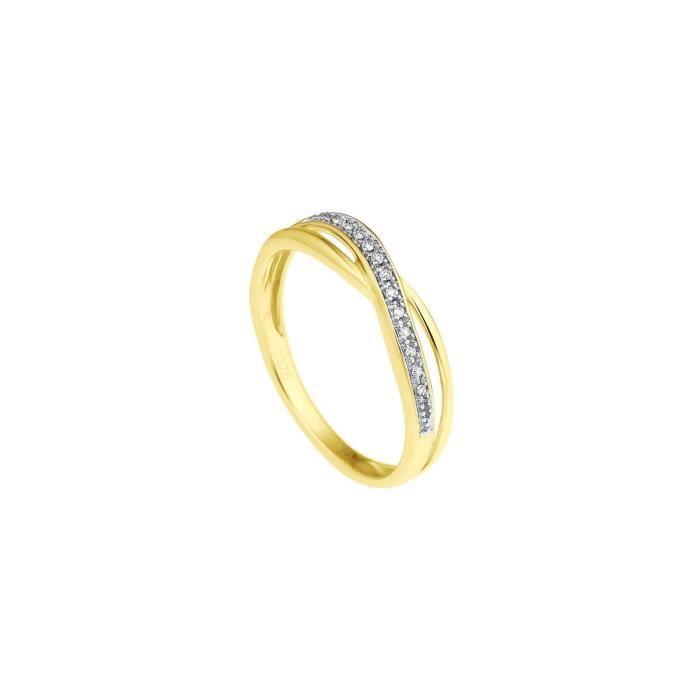 DIAMOND LANE Bague Demi Alliance Or Jaune 375° et Diamants Femme