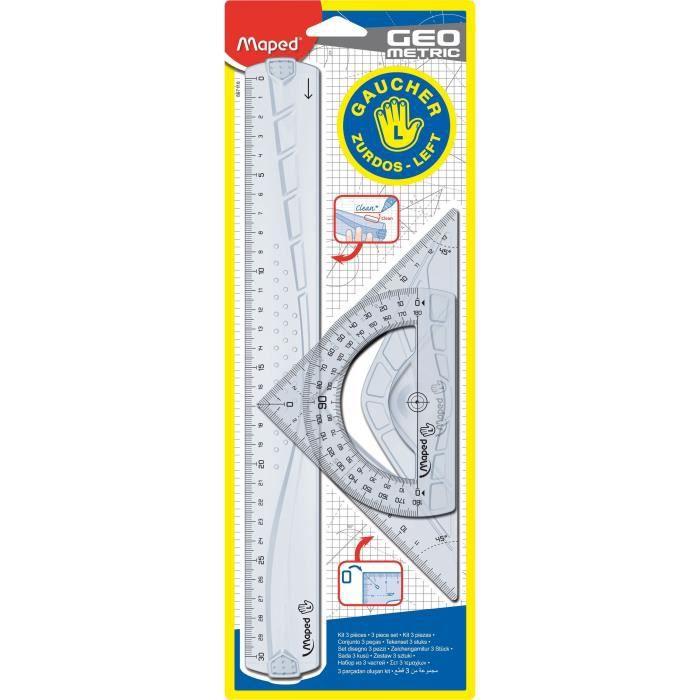 MAPED Kit de 3 pièces de traçage Geometric - Pour gaucher