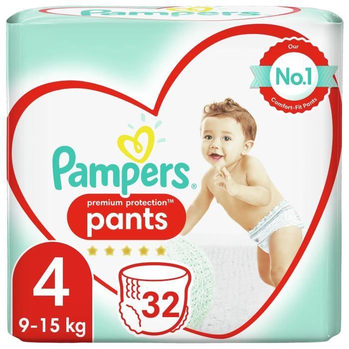 PAMPERS Premium Active Fit Pants Taille 4 - De 8 à 14 kg - 32 Couches-Culottes