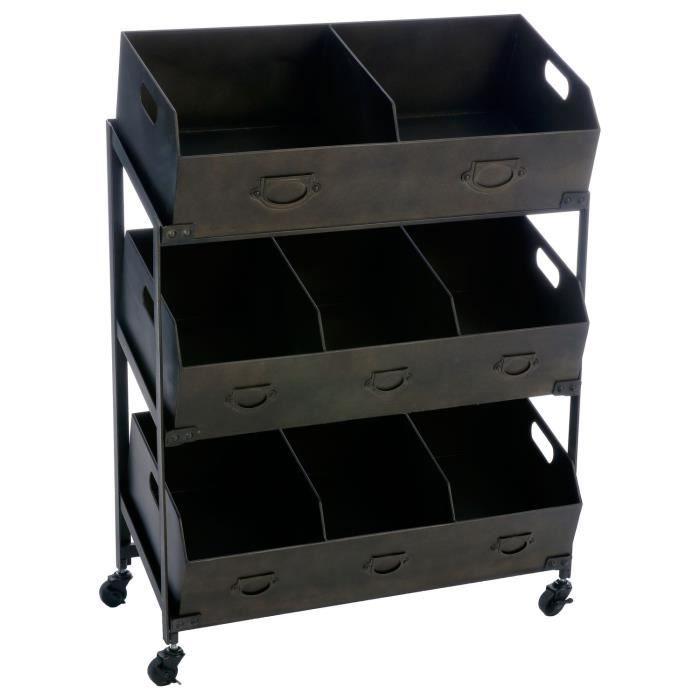 meuble 8 casiers roulettes torof 78 x 106 cm noir achat vente desserte billot meuble. Black Bedroom Furniture Sets. Home Design Ideas