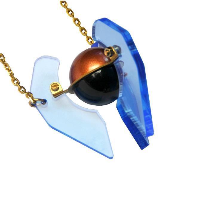 Femmes Pyram Blue Live bord acrylique Necklace31cm 1E2G64