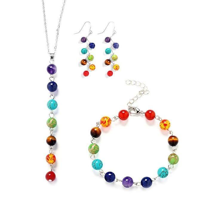 Dvigne de femmes 7 Chakras pierres naturelles semi-précieuses Yoga Reiki Cristal F Ensemble de bijoux VAW9X