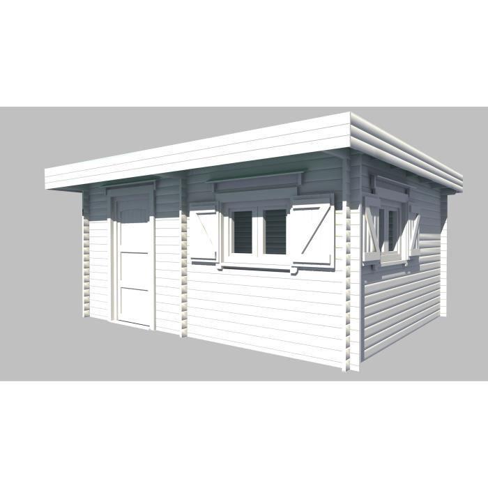 Abri de jardin en bois madriers massif 25,38m² toit plat et bac ...