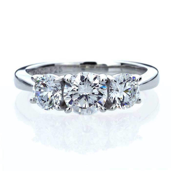 Bague FemmeArgent Fin 925/1000Oxyde de Zirconium1 ctTrois Pierres Ring