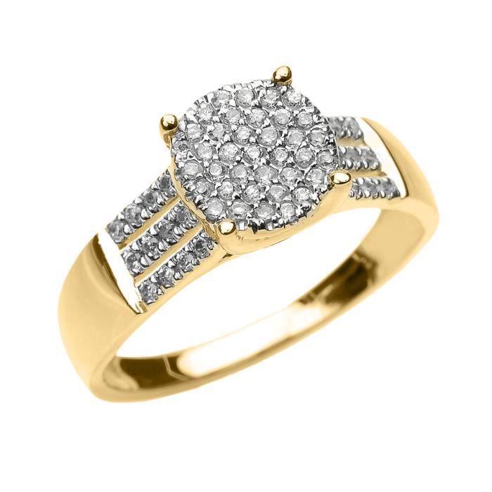Bague Femme Elégant 10 Ct Or Jaune 3 Rangée Micro Pave Diamant