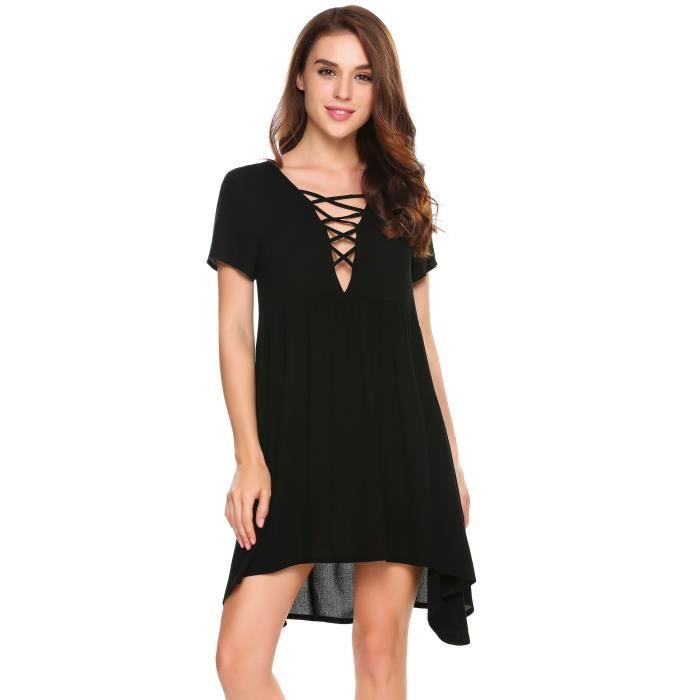 Robe sexy plissée Femmes Casual V-Cou Front Hollow Out Manches courtes Solid A-Line