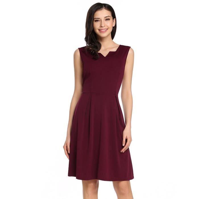 Femmes robe a-line élastique occasionnels ourlet plissé double col-v sans manches
